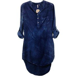 Red Camel Chambray Tunic Top Pearl Snap